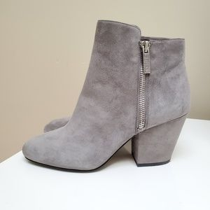 1.state Jacend Gray Suede Ankle Zip Bootie 9